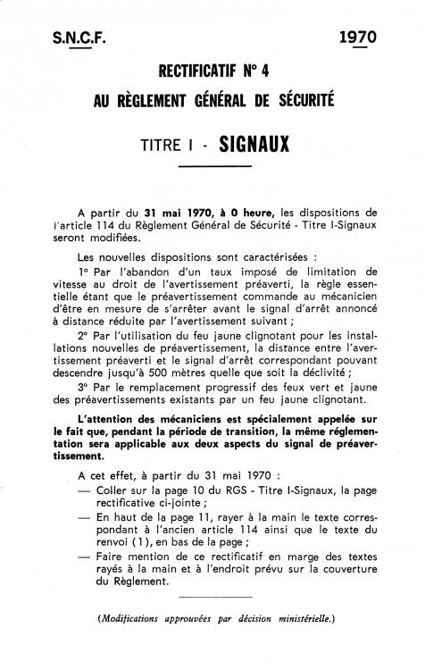 SNCF Règlement Générale de Sécurité. Titre I- Signaux. 1960. Rectificatif nº 4 (1970) 01.png