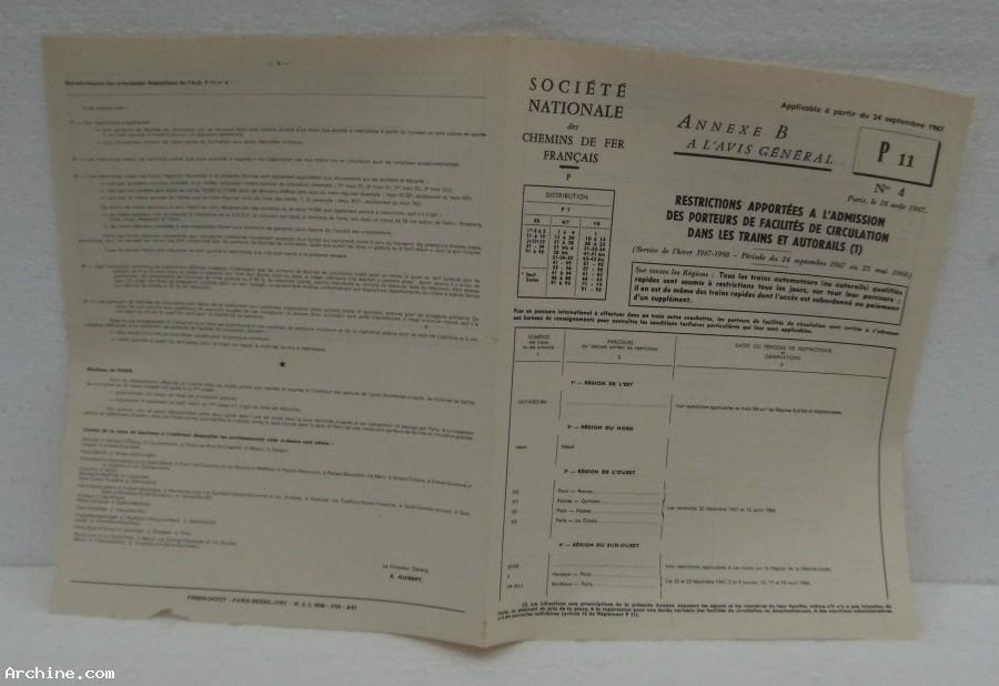 SNCF Annexe B à l'avis général P11 N°4 - année 1967 .jpg