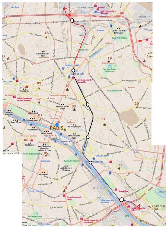 tronçon RER D indépendant RER B  - tracé rouge ligne existante - tracé noir en tranché couverte - tracé bleu - ligne en viaduc.jpg